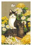 animal black_cat border bug butterfly cat cat_focus chrysanthemum flower insect looking_at_viewer no_humans original signature takigraphic white_border white_flower yellow_butterfly yellow_eyes yellow_flower