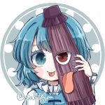 1girl bangs blue_eyes blue_hair blue_nails blue_vest closed_mouth heterochromia highres holding holding_umbrella karakasa_obake nail_polish red_eyes salt_(seasoning) shirt short_hair simple_background smile solo tatara_kogasa tatara_kogasa_(umbrella) tongue tongue_out touhou twitter_username umbrella upper_body vest white_shirt