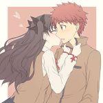 asin_buy black_hair closed_eyes emiya_shirou fate/stay_night fate_(series) homurahara_academy_uniform kiss redhead school_uniform toosaka_rin twintails yellow_eyes