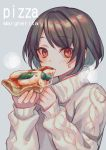 1girl aran_sweater black_hair blush cheese eating eyebrows_visible_through_hair food grey_background highres holding holding_food looking_at_viewer original pizza red_eyes short_hair simple_background sleeves_past_wrists slice_of_pizza solo steam sweat sweater turtleneck turtleneck_sweater white_sweater zoff_(daria)
