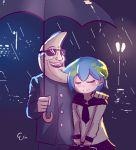 1boy 1girl artist_request blue_hair blush closed_eyes earth-chan gakuran hand_on_another's_shoulder mac_tonight mcdonald's rain school_uniform serafuku smile sunglasses umbrella