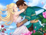 1boy 1girl artist_name bangs bare_shoulders blonde_hair brown_eyes brown_hair brown_pants cape closed_mouth couple dark_skin deviantart_username dress earrings flower green_cape green_eyes hair_bun hand_on_hip highres hug insertsomthinawesome jewelry long_hair long_sleeves looking_at_another pants petals pink_flower professor_ozpin red_flower rose rwby salem_(rwby) sash short_hair sidelocks sleeveless sleeveless_dress smile standing white_dress wind wristband yellow_sash