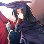 1boy bangs black_hair cape facial_mark fire_emblem fire_emblem:_path_of_radiance forehead_mark holding_cape holding_clothes long_hair long_sleeves looking_at_viewer male_focus parted_bangs parted_lips purple_cape red_cape red_eyes shuri_yasuyuki solo soren_(fire_emblem) upper_body wide_sleeves