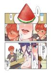 a_sanagi_a black_hair black_shirt dress emiya_shirou fate/stay_night fate_(series) food fruit redhead shirt toosaka_rin watermelon white_dress