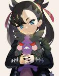 >:( 1girl asymmetrical_bangs bangs beppu_mitsunaka black_hair black_jacket blue_eyes earrings gen_8_pokemon grey_background hair_ribbon head_tilt holding holding_pokemon jacket jewelry long_hair long_sleeves looking_back mary_(pokemon) morpeko open_clothes open_jacket pokemon pokemon_(creature) pokemon_(game) pokemon_swsh red_eyes red_ribbon ribbon simple_background sleeves_past_wrists twintails upper_body