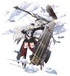 1girl aircraft animal azur_lane bald_eagle belt bird black_coat black_legwear black_skirt bow_(weapon) closed_mouth clouds coat collared_shirt drawing_bow dress_shirt eagle enterprise_(azur_lane) expressionless f6f_hellcat flight_deck floating_hair gloves hao_(patinnko) hat highres long_hair long_sleeves looking_away machinery military military_uniform miniskirt necktie official_art open_clothes open_coat peaked_cap pleated_skirt rudder_footwear shirt shoes silver_hair skirt solo thigh-highs transparent_background uniform violet_eyes weapon white_gloves white_headwear white_shirt zettai_ryouiki
