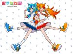 2girls :d bangs blonde_hair blue_bow blue_eyes blue_footwear blue_hair boots bow character_request commentary_request dress eyebrows_behind_hair floral_print hair_ornament hair_over_one_eye locked_arms long_hair multiple_girls okinawa_club open_mouth orange_footwear orange_hair orange_neckwear pleated_dress pleated_skirt print_bow ram_(ramlabo) red_eyes redhead round_teeth shirt short_sleeves skirt smile socks teeth thick_eyebrows twintails upper_teeth v very_long_hair virtual_youtuber white_background white_dress white_legwear white_shirt white_skirt