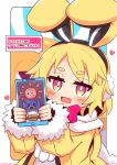 1girl :d absurdres animal_ears bangs blonde_hair blush bunny_earmuffs cellphone commentary_request disgaea earmuffs eyebrows_visible_through_hair fake_animal_ears fur-trimmed_sleeves fur_trim heart highres holding holding_cellphone holding_phone jacket long_sleeves looking_at_viewer makai_senki_disgaea_5 open_mouth phone pink_eyes prinny rabbit_ears scarf short_eyebrows smile solo thick_eyebrows translated twitter_username upper_body usalia_(disgaea) white_background white_scarf yellow_jacket yuya090602