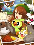 1girl bangs blue_sky blurry blurry_background blush brown_eyes brown_hair cardigan clouds commentary_request curry curry_rice day depth_of_field eyebrows_visible_through_hair food galarian_zigzagoon gen_8_pokemon green_headwear grey_cardigan grookey hair_between_eyes highres holding holding_plate holding_spoon long_sleeves milcery nima_(niru54) outdoors plate pokemon pokemon_(creature) pokemon_(game) pokemon_swsh puffy_long_sleeves puffy_sleeves rice rookidee sheep sky spoon star tam_o'_shanter translated tree wooloo yamper yuuri_(pokemon)