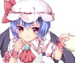 1girl arms_up bat_wings blouse blue_hair brooch commentary_request cravat cup cycloneyukari fingernails frilled_shirt_collar frills hair_between_eyes hand_on_own_chest hat hat_ribbon holding holding_cup jewelry light_smile looking_at_viewer mob_cap puffy_short_sleeves puffy_sleeves red_eyes red_neckwear remilia_scarlet ribbon short_hair short_sleeves simple_background solo teacup touhou upper_body white_background white_blouse white_headwear wings wrist_cuffs