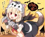 1girl animal_hood black_serafuku black_skirt blonde_hair blush commentary_request fang hair_between_eyes hair_flaps halloween halloween_costume hood kantai_collection long_hair neckerchief open_mouth paws pleated_skirt red_eyes red_neckwear remodel_(kantai_collection) school_uniform serafuku short_sleeves skirt solo speech_bubble tail translated wolf_tail yume_no_owari yuudachi_(kantai_collection)