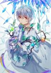 1boy absurdres barcode_tattoo branch crystal droplet glint highres looking_at_viewer mafumafu male_focus niconico orb rainbow red_eyes ribbon_trim solo standing tattoo water_drop watering_can white_background white_hair wide_sleeves yukikohuang