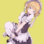 1girl animal_ears apron aqua_eyes bad_id bad_tumblr_id bangs between_legs black_footwear blonde_hair blunt_bangs center_frills closed_mouth expressionless eyebrows_visible_through_hair fake_animal_ears fleur_de_lapin_uniform floppy_ears frilled_cuffs frilled_hairband frills gochuumon_wa_usagi_desu_ka? hairband hand_between_legs head_tilt headdress kirima_sharo kuroboshi_kouhaku looking_at_viewer puffy_short_sleeves puffy_sleeves rabbit_ears short_hair short_sleeves simple_background solo squatting thigh-highs tsurime underbust waist_apron wavy_hair white_legwear wrist_cuffs yellow_background
