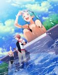 3girls aqua_hair blonde_hair blue_swimsuit brown_hair closed_eyes clouds cloudy_sky copyright crypton_future_media goggles hair_ornament hairclip hatsune_miku jacket kagamine_rin long_hair meiko momoiro_oji multiple_girls one-piece_swimsuit outdoors pool short_hair sky stretch swimsuit vocaloid
