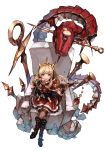 1girl bangs black_footwear black_legwear blonde_hair blush book boots bracelet cagliostro_(granblue_fantasy) cape chair crossed_legs dragon from_above granblue_fantasy hairband hankuri holding holding_book jewelry long_hair looking_at_viewer looking_up nail open_book open_mouth red_skirt simple_background sitting skirt smile solo thigh-highs tiara violet_eyes white_background world_flipper