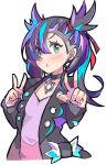 1girl :o black_choker black_hair black_jacket black_nails blue_hair blush choker commentary_request cropped_torso double_v dress earrings enpe green_eyes hair_over_one_eye hair_ribbon highres jacket jewelry long_sleeves looking_at_viewer mary_(pokemon) multicolored_hair nail_polish open_clothes open_jacket parted_lips pink_dress pokemon pokemon_(game) pokemon_swsh purple_hair red_ribbon ribbon solo two_side_up upper_body v