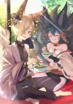 1boy 1girl animal_ears backless_outfit blonde_hair blue_hair blush chopsticks closed_eyes collar eating erune fox_boy fox_ears fox_girl fox_tail granblue_fantasy hair_between_eyes hair_ornament hair_over_one_eye highres kou_(granblue_fantasy) large_tail long_hair multiple_tails off_shoulder open_mouth short_hair smile tail yooguretto you_(granblue_fantasy)