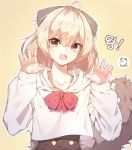 1girl :d ahoge animal_ear_fluff animal_ears bangs black_skirt blonde_hair bow brown_eyes claw_pose copyright_request eyebrows_visible_through_hair fang fingernails hair_between_eyes hands_up highres hood hood_down hoodie korean_text long_hair long_sleeves looking_at_viewer open_mouth outline red_bow se.a skirt sleeves_past_wrists smile solo tail tail_raised translation_request upper_body white_hoodie white_outline