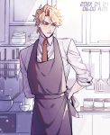 1boy apron blonde_hair collared_shirt cooking dated dio_brando dishes grumpy hako_iix07 indoors ingredients jojo_no_kimyou_na_bouken kitchen knife male_focus necktie phantom_blood red_eyes red_neckwear ribbon salt shirt short_hair solo spatula timestamp