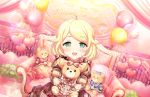 blonde_hair blush dress green_eyes idolmaster_cinderella_girls_starlight_stage kozue_yusa short_hair