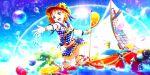 beach blush dress love_live!_school_idol_festival_all_stars orange_hair red_eyes short_hair smile sun_hat takami_chika