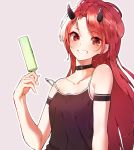 1girl bangs bare_shoulders black_collar black_dress breasts collar collarbone copyright_request demon_horns dress eyebrows_visible_through_hair food grey_background grin highres holding holding_food horns long_hair looking_at_viewer outline parted_bangs popsicle red_eyes redhead se.a sharp_teeth sleeveless sleeveless_dress small_breasts smile solo strap_slip teeth upper_body very_long_hair white_outline