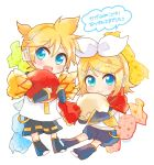 1boy 1girl bangs black_collar black_legwear black_shorts black_sleeves blonde_hair blue_eyes bow candy chibi collar crop_top detached_sleeves food hair_bow hair_ornament hairclip headphones highres holding_candy kagamine_len kagamine_rin leg_warmers light_blush looking_at_viewer neckerchief necktie oversized_food oversized_object sailor_collar school_uniform shiroro69 shirt short_hair short_ponytail short_sleeves shorts sleeveless sleeveless_shirt smile spiky_hair swept_bangs translated vocaloid white_bow white_shirt yellow_neckwear