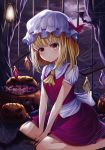 1girl absurdres ascot bangs bat blonde_hair blush bow candy commentary_request crystal eyebrows_visible_through_hair feet_out_of_frame flandre_scarlet food frilled_shirt_collar frills hat hat_bow highres huge_filesize indoors jack-o'-lantern looking_at_viewer miniskirt mob_cap nail_polish nankam night night_sky red_bow red_eyes red_nails red_skirt red_vest shirt short_hair short_sleeves sitting skirt skirt_set sky solo touhou vest wariza white_headwear white_shirt wings yellow_neckwear