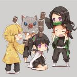 2girls 3boys agatsuma_zenitsu arashiya bamboo bare_legs belt bit_gag black_hair black_pants blank_eyes blonde_hair blush_stickers boar_mask breath brown_hair butterfly_hair_ornament carrying checkered chibi cloak closed_eyes coat cup eyebrows_visible_through_hair facial_scar full_body gag grey_background hair_ornament hair_ribbon haori hashibira_inosuke japanese_clothes kamado_nezuko kamado_tanjirou kimetsu_no_yaiba long_hair multiple_boys multiple_girls neck_ribbon open_mouth pants piggyback red_neckwear ribbon scar shirtless side_ponytail simple_background sitting socks stacking sweatdrop teacup thighs trembling tsuyuri_kanao uniform violet_eyes wariza wavy_mouth white_footwear