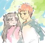 black_hair blue_eyes emiya_shirou fate/stay_night fate_(series) red_sweater redhead shinoji smile sweater toosaka_rin twintails yellow_eyes