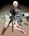 2girls bangs barefoot black_jacket blonde_hair blood blood_on_face blue_eyes blue_panties brown_hair clenched_teeth collared_shirt cuts erica_hartmann eyebrows_visible_through_hair gertrud_barkhorn grass grey_jacket gun highres holding holding_gun holding_weapon ichiren_namiro injury jacket long_hair long_sleeves looking_at_viewer machine_gun mg42 multiple_girls on_grass panties parted_lips shirt strike_witches striker_unit teeth underwear v-shaped_eyebrows weapon white_shirt world_witches_series