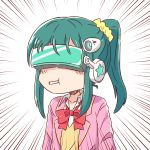1girl bangs blush_stickers bow closed_mouth collared_shirt emphasis_lines green_eyes green_hair guriin hair_ornament hair_scrunchie head_mounted_display headgear highres jacket long_hair mouth_hold open_clothes open_jacket pink_jacket ponytail red_bow scrunchie serizawa_momoka shirt sidelocks simple_background solo sweater_vest tokyo_7th_sisters upper_body white_background white_shirt yellow_scrunchie