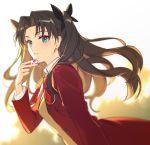 black_hair blue_eyes fate/stay_night fate_(series) gem highres homurahara_academy_uniform jacket mansu red_jacket school_uniform toosaka_rin