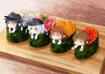 4girls =_= akatsuki_(kantai_collection) anchor_symbol badge bangs blue_eyes blush brown_hair chibi closed_eyes closed_mouth commentary_request eyebrows_visible_through_hair fang fish flat_cap folded_ponytail food hair_between_eyes hair_ornament hairclip hat hibiki_(kantai_collection) hinata_yuu ikazuchi_(kantai_collection) in_food inazuma_(kantai_collection) kantai_collection long_hair long_sleeves minigirl multiple_girls open_mouth purple_hair school_uniform serafuku short_hair silver_hair sushi