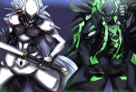 2boys animal_ears armor bangs blazblue blazblue:_central_fiction blazblue:_cross_tag_battle commentary_request evil green_eyes green_hair grin hakumen long_hair male_focus mask multicolored_hair multiple_boys red_eyes silver_hair smile susanoo_(blazblue) sword tail teeth two-tone_hair user_txts7457 weapon white_hair