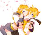 1boy 1girl bangs bare_shoulders black_collar black_shorts black_sleeves blonde_hair blue_eyes bow brother_and_sister collar commentary crop_top detached_sleeves face-to-face finger_heart grin hair_bow hair_ornament hairclip headphones headset heart heart_background highres kagamine_len kagamine_rin leaning_forward light_blush looking_at_viewer nail_polish neckerchief necktie one_eye_closed outstretched_arm oyamada_gamata sailor_collar school_uniform shirt short_hair short_ponytail short_sleeves shorts siblings smile spiky_hair swept_bangs symbol_commentary symmetrical_pose twins vocaloid white_background white_bow white_shirt yellow_nails yellow_neckwear