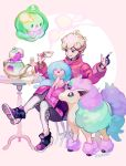 1boy ahoge beet_(pokemon) blonde_hair cup curly_hair galarian_ponyta hattrem jacket male_focus pink_jacket pokemon pokemon_(game) pokemon_swsh polteageist saucer short_hair sitting smile solosis teacup violet_eyes zyo_bo_bo