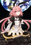 1boy astolfo_(fate) astolfo_(saber)_(fate) bangs black_bow black_gloves black_legwear black_ribbon blush bow bowtie commentary_request dress earth eyebrows_visible_through_hair fang fate/grand_order fate_(series) gloves hair_between_eyes hair_bow hair_intakes hair_ribbon highres kakan_(amka) long_hair long_sleeves looking_at_viewer multicolored_hair otoko_no_ko pink_hair ribbon smile solo streaked_hair twintails violet_eyes white_hair