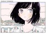 1girl black_hair blush building city cityscape commentary_request english_text floral_print hair_ornament hairclip looking_at_viewer original outdoors pink_eyes portrait railing ryuushi shirt short_hair solo tree white_shirt