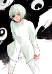 1girl arm_behind_back black_eyepatch clenched_hand dark_skin eyepatch ghoul green_eyes looking_at_viewer monochrome mutsuki_tooru nyako_umi pants reverse_trap short_hair solo tokyo_ghoul tokyo_ghoul:re turtleneck_jacket white_coat white_hair white_pants