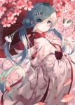 1girl absurdres bbeedol blue_eyes blue_hair blurry blurry_background blurry_foreground branch cherry_blossoms commentary cowboy_shot depth_of_field flower from_side hair_bun hair_ornament hatsune_miku highres holding holding_umbrella japanese_clothes kimono leaf leaf_on_head light_blush light_smile lipstick looking_at_viewer looking_to_the_side makeup oriental_umbrella outdoors petals snow_bunny snowflake_print solo tree twintails uchikake umbrella vocaloid white_kimono yuki_miku yuki_miku_(2013)