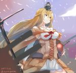 1girl blonde_hair blue_eyes blue_sky braid cannon clouds commentary_request corset crown dated dress flower french_braid globus_cruciger highres jamiro_quaison kantai_collection long_hair long_sleeves machinery mini_crown off-shoulder_dress off_shoulder red_flower red_ribbon red_rose ribbon rose scepter sky solo standing twitter_username warspite_(kantai_collection) white_dress