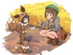 2girls afterimage ankle_boots backpack bag black_hair blush blush_stickers boots brown_eyes brown_footwear brown_hair cchhii3 child closed_mouth cosplay eevee eevee_(cosplay) eevee_costume full_body gen_1_pokemon green_headwear green_legwear grey_coat hands_on_own_knees hood hood_down hooded_coat long_sleeves multiple_girls outdoors pink_skirt poke_kid_(pokemon) poke_toy pokemon pokemon_(creature) pokemon_(game) pokemon_swsh short_hair skirt smile socks sparkle squatting squiggle tail_wagging tam_o'_shanter yuuri_(pokemon)