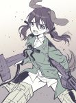 1girl animal_ears bangs black_ribbon breasts brown_background brown_hair collared_shirt dog_ears dog_girl dog_tail eyebrows_behind_hair gertrud_barkhorn gradient gradient_background green_jacket gun hair_between_eyes hair_ribbon highres holding holding_gun holding_weapon ichiren_namiro jacket long_hair low_twintails machine_gun mg42 navel neck_ribbon open_mouth panties ribbon shirt small_breasts solo strike_witches striker_unit tail twintails underwear v-shaped_eyebrows weapon white_background white_panties white_shirt world_witches_series