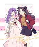 black_hair blue_eyes fate/stay_night fate_(series) highres matou_sakura purple_hair redmin_0415 smile toosaka_rin twintails violet_eyes