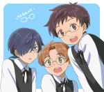 3boys :d :o bangs bespectacled blue_background blue_eyes blue_hair brown_eyes brown_hair freckles glasses green_eyes hair_over_one_eye jinnai_enta kuji_toi leaning_forward looking_at_viewer male_focus monocle multiple_boys muraiaria open_mouth parted_bangs pince-nez sarazanmai shirt simple_background smile upper_body vest white_shirt yasaka_kazuki