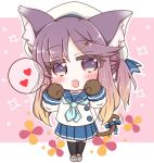 1girl :d animal_ear_fluff animal_ears beret black_legwear blue_bow blue_sailor_collar blue_skirt bow brown_hair cat_ears cat_girl cat_hair_ornament cat_tail chibi commentary_request fang full_body fur-trimmed_sleeves fur_trim gloves gradient_hair grey_footwear hair_ornament hairclip hat heart kantai_collection kemonomimi_mode loafers long_hair long_sleeves multicolored_hair open_mouth paw_gloves paws pink_background pleated_skirt ponytail purple_hair ridy_(ri_sui) sailor_collar school_uniform serafuku shirt shoes sidelocks skirt smile solo sparkle spoken_heart standing tail tail_bow thigh-highs tsushima_(kantai_collection) two-tone_background very_long_hair violet_eyes white_background white_headwear white_shirt