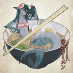 1girl ;p artist_name bangs bowl bra breasts chopsticks collarbone commentary egg english_commentary eyebrows_visible_through_hair fins food full_body green_hair grey_skin hair_between_eyes hair_ornament head_fins head_tilt highres in_bowl in_container in_food long_hair looking_at_viewer medium_breasts mermaid minigirl monster_girl multicolored multicolored_skin navel noodles one_eye_closed original ramen red_eyes smile solo striped striped_bra tongue tongue_out translated underwear w