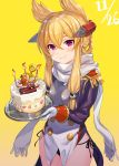 1girl akanagi_youto anchor azur_lane bangs black_panties blonde_hair blush breasts cake candle commentary_request cowboy_shot dated epaulettes fire flame food gloves gradient gradient_background hair_between_eyes happy_birthday headgear highres holding holding_food long_hair long_sleeves looking_at_viewer panties pointy_hair scarf side-tie_panties sidelocks small_breasts smile solo standing underwear union_jack violet_eyes warspite_(azur_lane) white_gloves white_scarf yellow_background