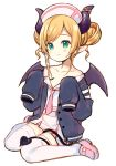 1girl age_regression bangs black_jacket black_wings blonde_hair blush closed_mouth collarbone collared_shirt curled_horns demon_girl demon_horns demon_tail demon_wings double_bun eyebrows_visible_through_hair full_body green_eyes hair_ribbon hat heart hololive horns jacket loafers long_hair long_sleeves looking_away meito_(maze) necktie nurse_cap off_shoulder open_clothes open_jacket pink_footwear pink_neckwear pleated_skirt pointy_ears ribbon shirt shoes sidelocks simple_background sitting skirt sleeves_past_fingers sleeves_past_wrists smile solo swept_bangs tail thigh-highs virtual_youtuber wariza white_background white_headwear white_legwear white_ribbon white_shirt white_skirt wings younger yuzuki_choco